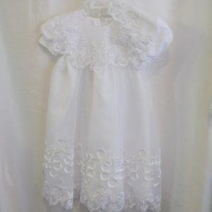 Girls 6-9 M. Baptismal Dress w/ Matching Bonnet
