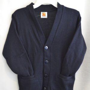 Plain Navy V Neck Button Down Cardigan Sweater