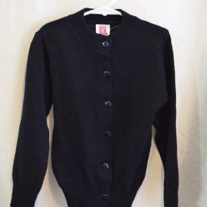 Plain Navy Girls Crew Neck Button Down Sweater