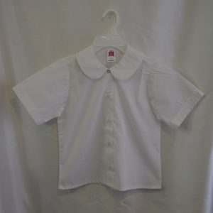 Girls White Short Sleeve Round Collar Blouse
