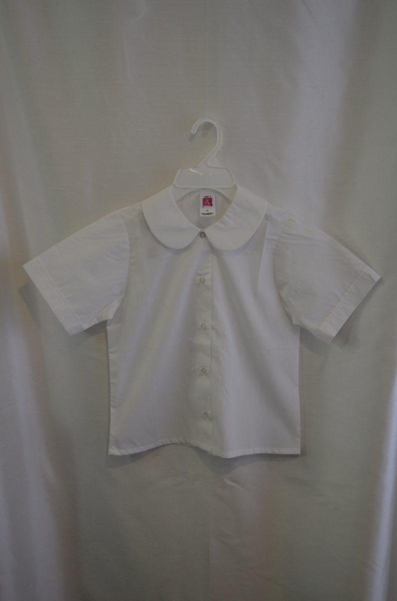 Girls White Short Sleeve Round Collar Blouse