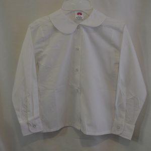 Girls White Long Sleeve Round Collar Blouse