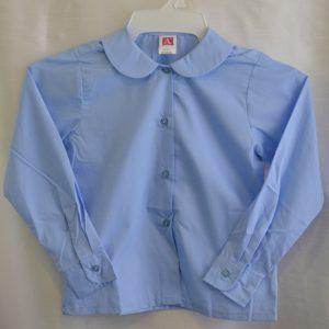 Girls Blue Long Sleeve Round Collar Blouse