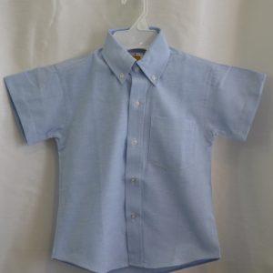 Girls/Womens Short Sleeve Blue Oxford Dress Shirt