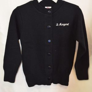 St Margaret Girls Navy Crew Neck Button Down Sweater