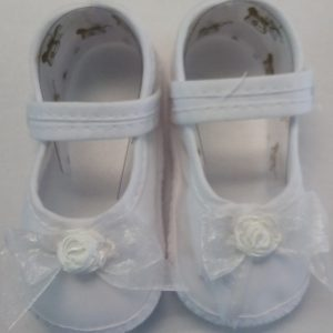 Girls White Baptism Shoe w/ Bow and Flower