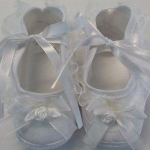 Girls White Lace Decorated Baptism Shoe w/ Bow