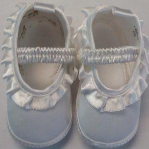 Girls White Baptism Shoe w/ Elastic Top