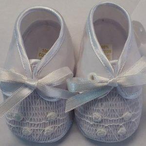 Girls White Baptism Shoe w/ Front Design