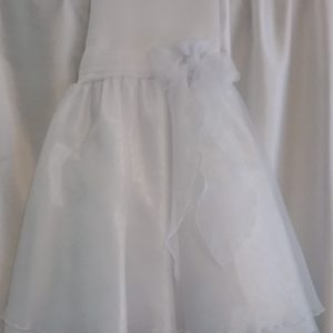 2 Layered White Dress with Bow on Waist
