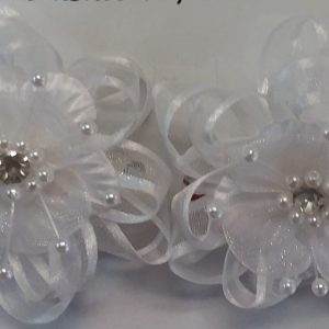 White Flower and Pearl Hair Clips