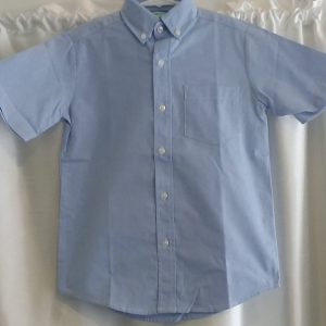 Boys Short Sleeve Blue Oxford Shirt