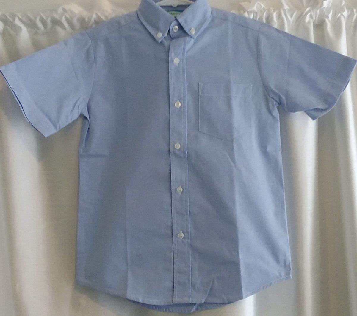 Boys Short Sleeve Blue Oxford Shirt