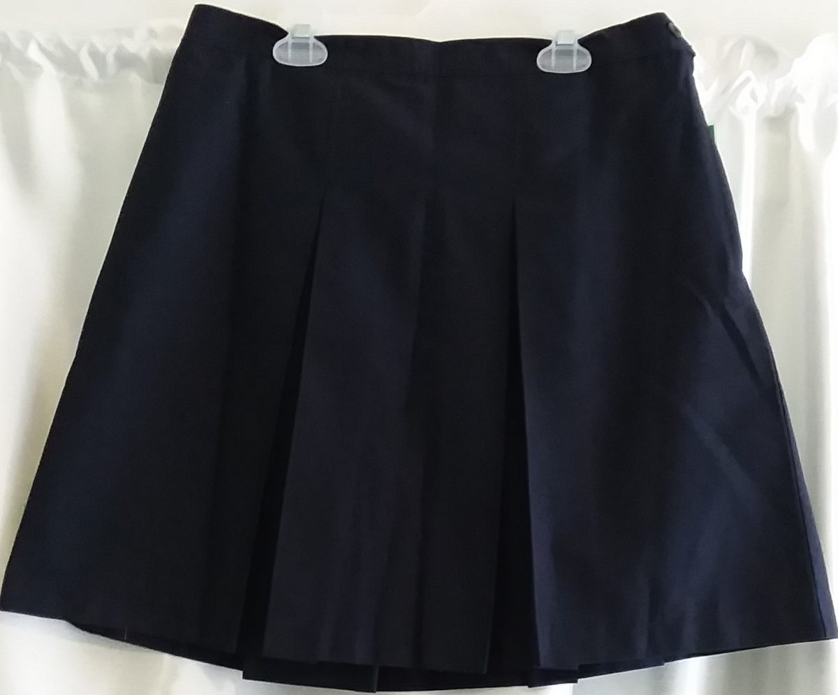 Dark Navy Plain Boxed Pleat Skirt